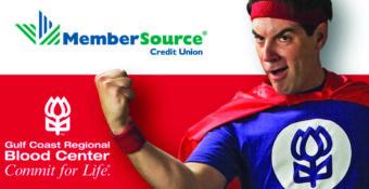 blood center logo and hero man