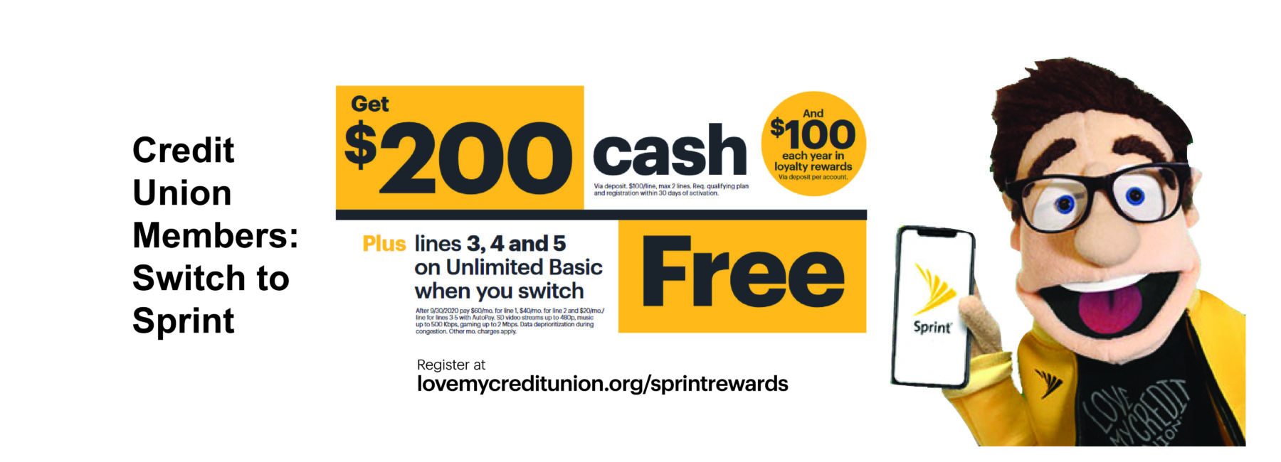 banner with text and cartoon image for Sprint $200 cash offer for switching