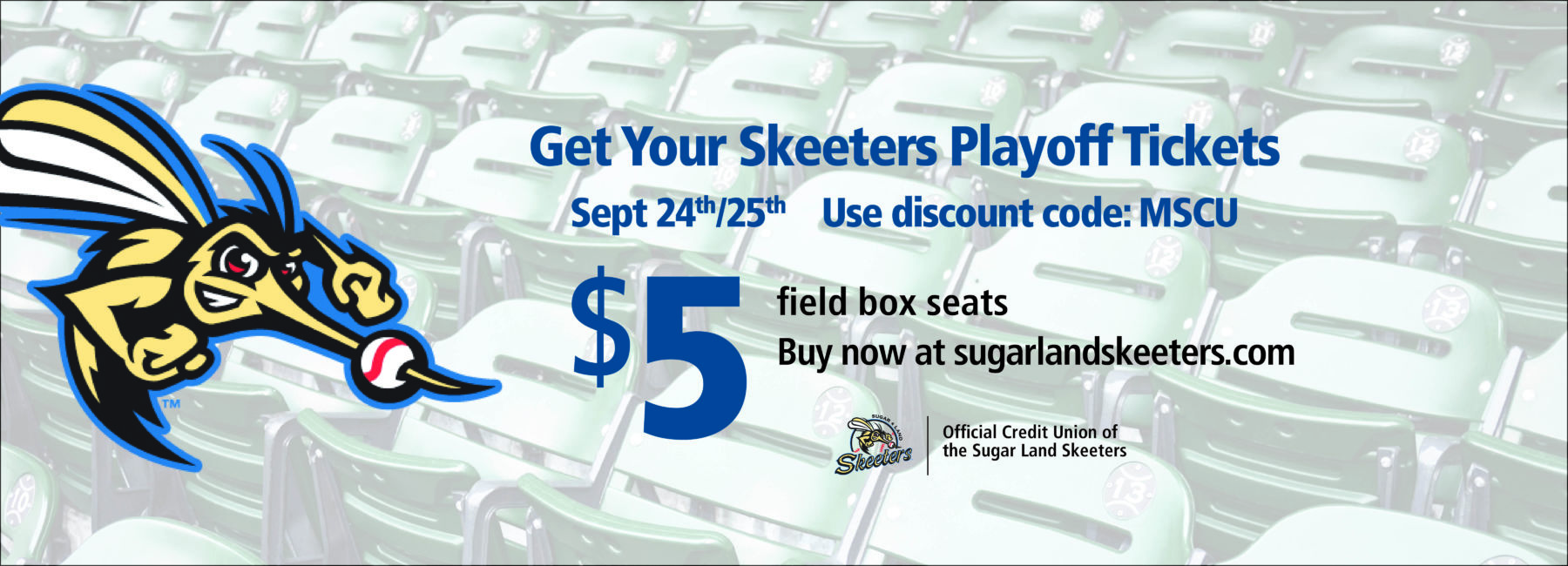 stadium seats with Skeeters playoff ticket information