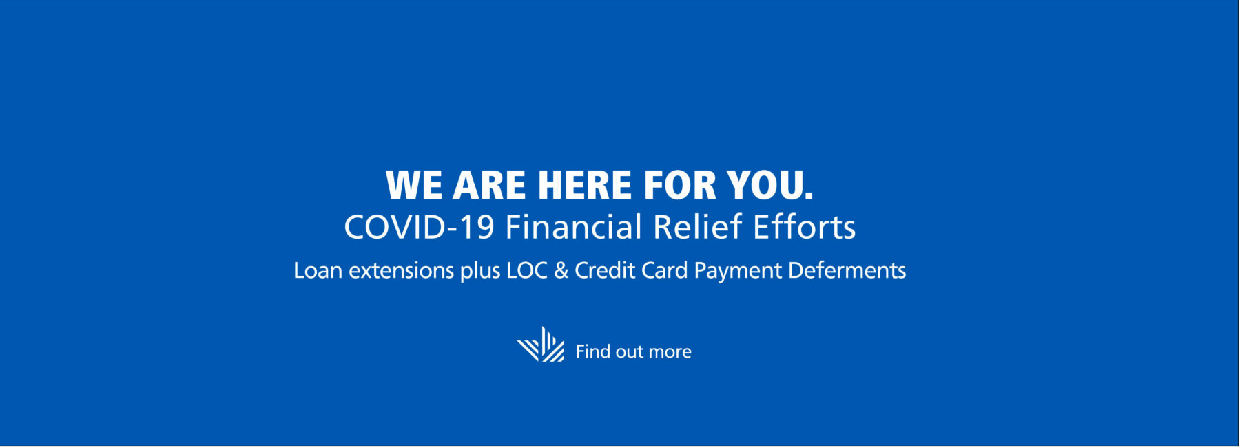 white text stating COVID 19 Financial Relief efforts on blue background