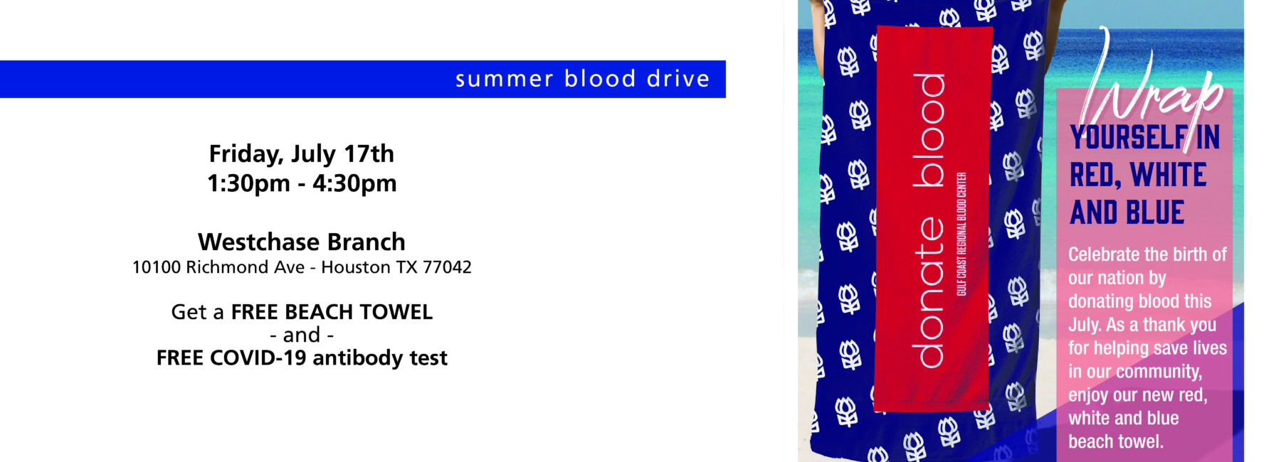 beach towel with donate blood text on it