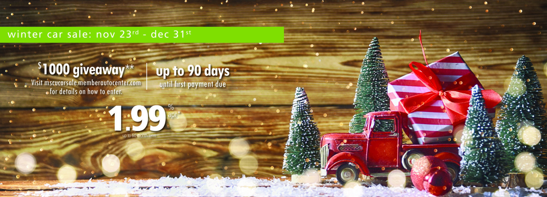 Holiday image with trees, vintage truck and gift