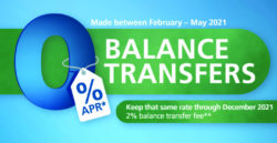 Graphic with text showing zero percent balance transfer offer valid February to May 2021