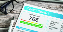 image of credit report with score of 765