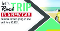 Graphic of car on a beach with text stating Let's Road Trip in a New Car Summer Car Sale